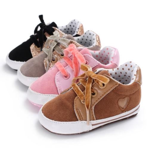 Newborn Baby Girl Soft Sole Leather Crib Shoes Anti-slip Sneaker Prewalker Cute Autumn Spring 0-18M