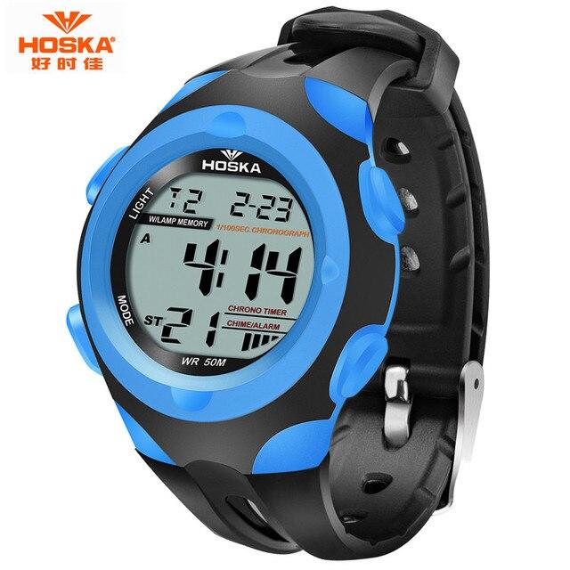 Новая Мода HOSKA Марка Часы Мужчины 50 м водонепроницаемый Спорт Люкс Дети часы Повседневная Цифровые Часы многофункциональные Часы