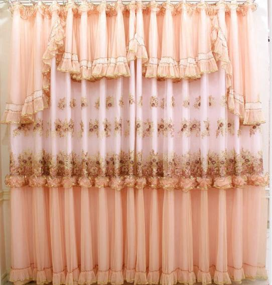 Elegant Chinese Embroidered Living Room Curtains Drapes Romantic Lace Wedding Ceiling Decoration Girls Princess Window