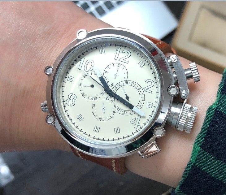 50mm PARNIS prawa ręka korona biała tarcza automatyczny mechanizm samoczynnego wiatru Auto data męski zegarek pasek ze skóry bydlęcej PA8 P8 w Zegarki mechaniczne od Zegarki na title=