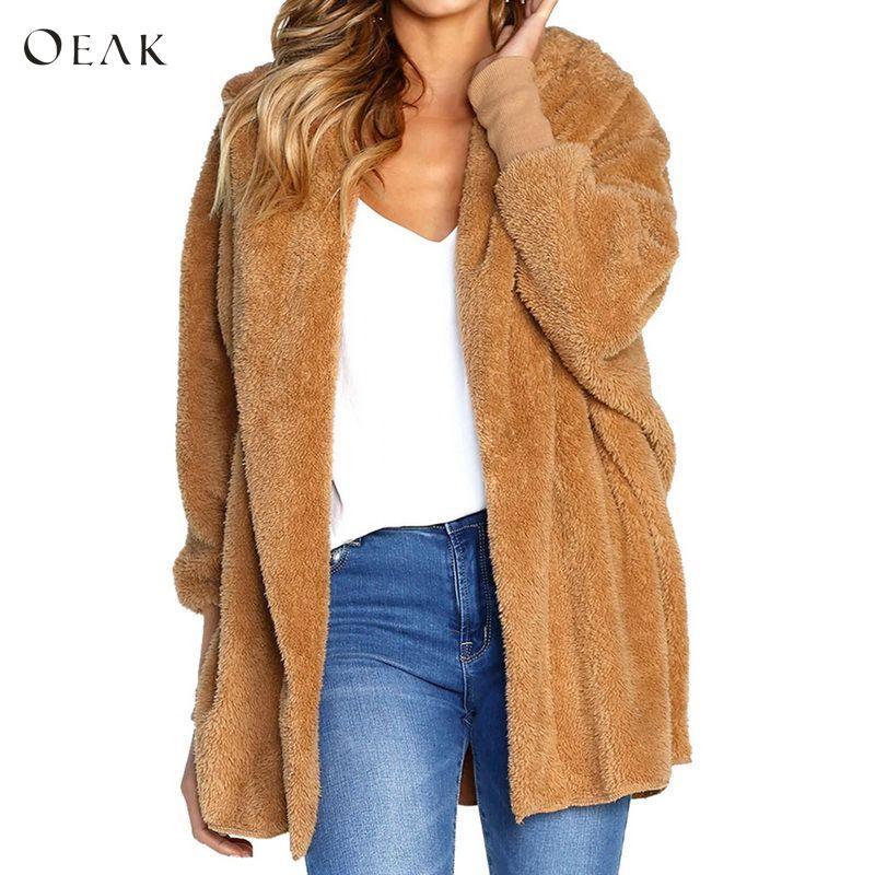 OEAK 2018 Women Soft Fleece Fur   Parka   Coat Autumn Winter Thick Long Sleeve Hooded Outwear Jacket Female Teddy Bear Coats Fashion