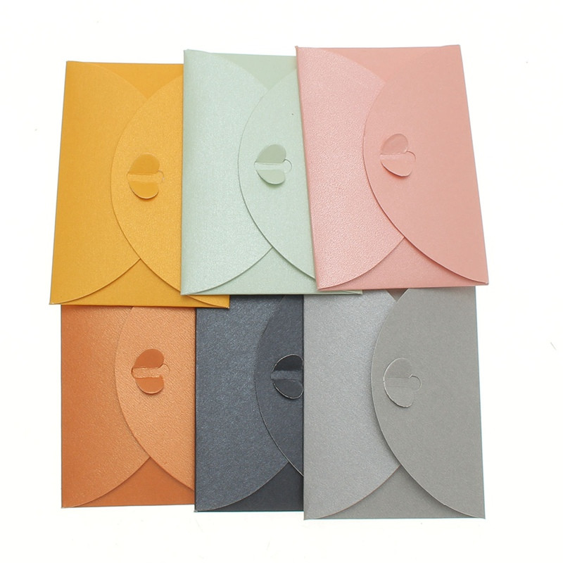 10pcs/lot Colorful Paper Envelope Pearl Colored Heart Clasp ...