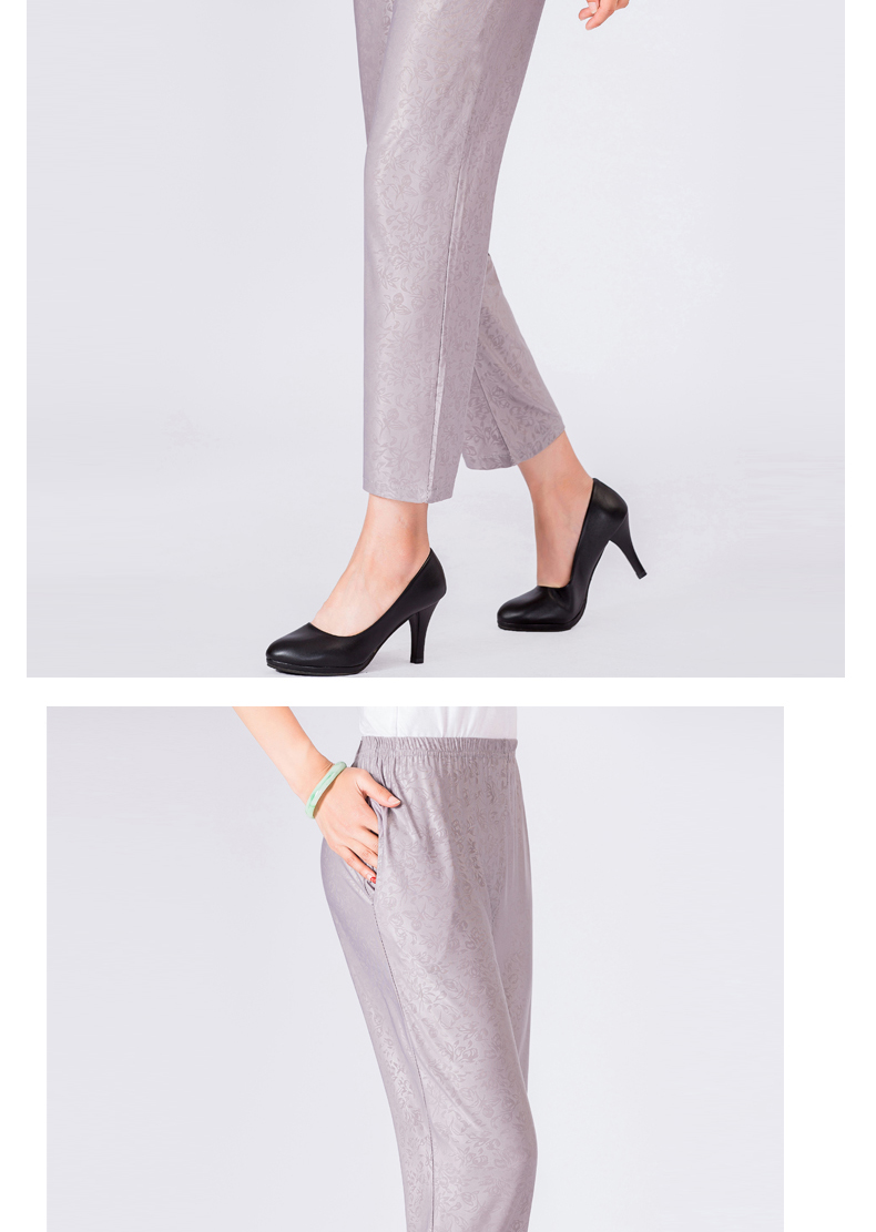 Elderly Women Casual Pants Gray Black Shadow Pattern Trousers Female High Waist Elastic Band Pantalones Mujer Mother Leisure Pant Summer (7)