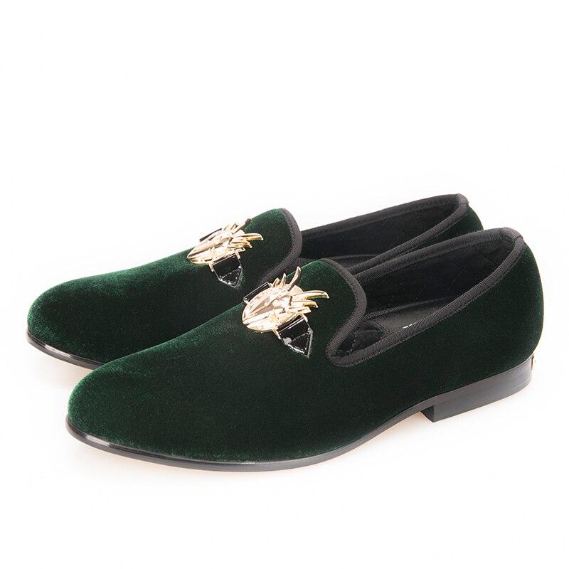 Grande Dos Sapatos Do Casamento Verde Vestido Novos Fivela 2018 Antílope Piergitar De Com Elegante Homens Tamanho Partido Veludo E Mocassins wUF7tx