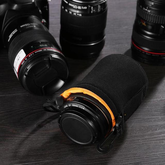 1Pcs Camera Lens Pouch Bag Neoprene Waterproof Soft Video Camera Lens Pouch Bag Case Full Size S M L XL Camera Lens Protector 4