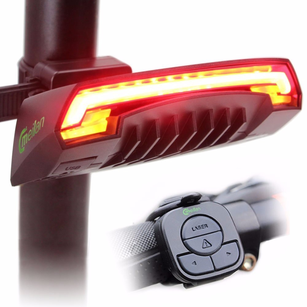 Laser Bike Taillight USB Rechargeable LED Cycling Rear Light Lamp Wireless Remote Red Lantern Bicycle Light Bike Accessories meilan x5 wireless bike bicycle rear light laser tail lamp smart usb rechargeable cycling accessories remote turn led