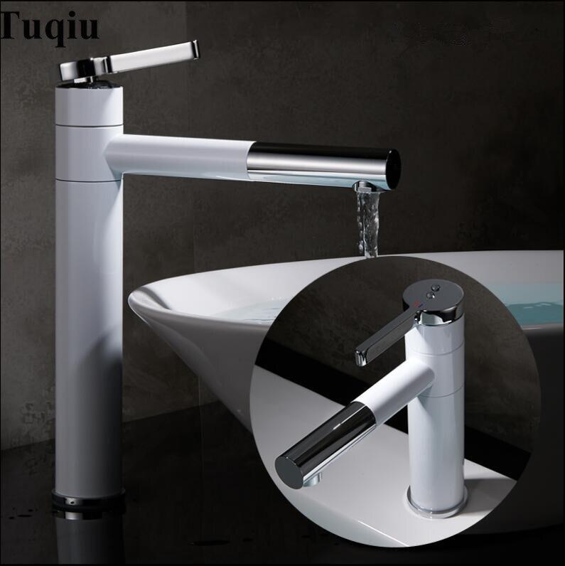 Basin Mixer Tap 360 Degree Rotate Type Basin Faucet White/Black and Silver chrome Finish Bathroom Faucets Single Hand Bathroom lzz 111 360 degree rotate mini 4 blade 1 mode usb2 0 fan black white dc 5v 110cm