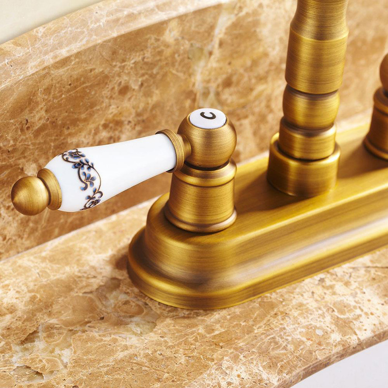 Vidric Free shipping! Antique Brass Deck Mounted Dual Ceramics Cross Handles Bathroom Vessel Sink Basin Faucet Swivel Mixer TapVidric Free shipping! Antique Brass Deck Mounted Dual Ceramics Cross Handles Bathroom Vessel Sink Basin Faucet Swivel Mixer Tap