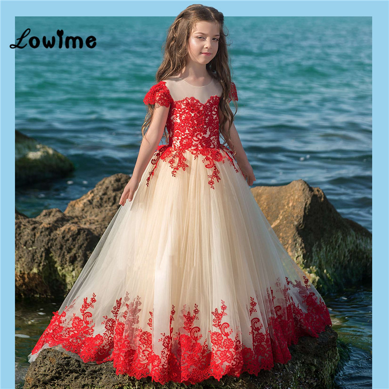 2018 New Red Lace   Dress   For   Girl   Kids   Flower     Girl     Dresses   Vestido Daminha Pageant   Dresses   Short Sleeves First Communion   Dress