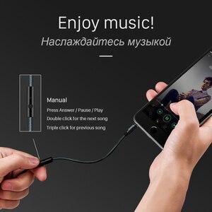 Image 2 - HOCO 3.5mm Jack câble Audio plaqué or Jack 3.5mm mâle à mâle câble Aux avec Microphone micro pour iPhone voiture casque haut parleur