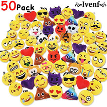 50pcs Emoji Poop Plush Keychain Birthday Party Favors Supplies Mini Pillows Set Emoticon Backpack Clips