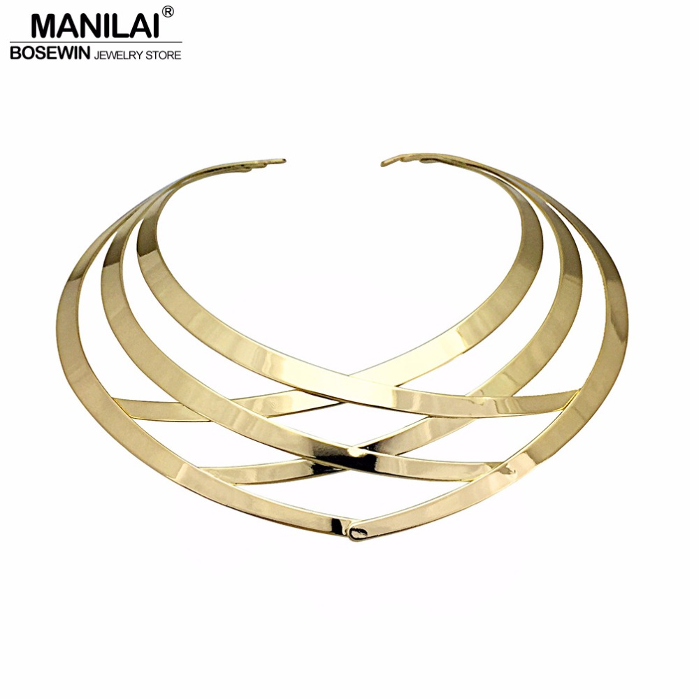 MANILAI Trendy Metal Hollow Torque Choker Necklaces Women Indian Punk Geometric Collar Statement Necklace Jewelry Accessories casual style print and canvas design satchel for women