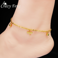 Beautiful Dragonfly Beads Tassel Anklet Cheap  Gold Plated Chain Cheville Bracelet Barefoot Sandals Foot Jewelry For Women