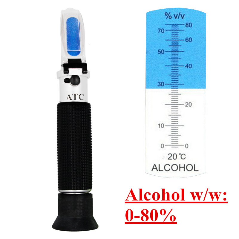 handheld alcohol tester refractometer (0-80%) oenometer monitor detector of liquor meter with ATC 54% off alcohol refractometer for spirit alcohol volume percent measurement with automatic temperature compensation atc range 0 80%
