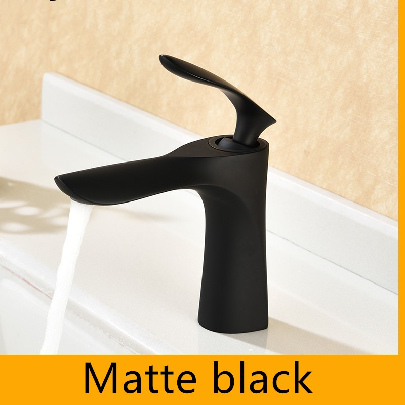 Matte black Solid brass bathroom sink faucet high quality Single hole cold and hot water mixer faucet tap Free shipping-Matte black Solid brass bathroom sink faucet high quality Single hole cold and hot water mixer faucet tap Free shipping-