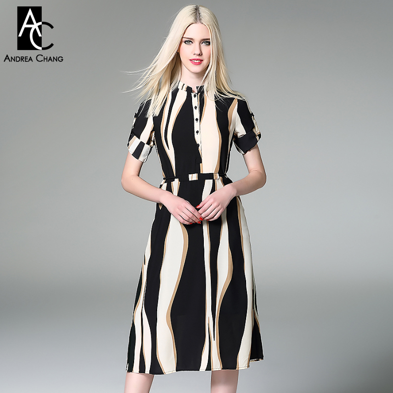 spring summer runway designer womans dresses black beige khaki strip pattern silk blends dress over knee high quality long dress