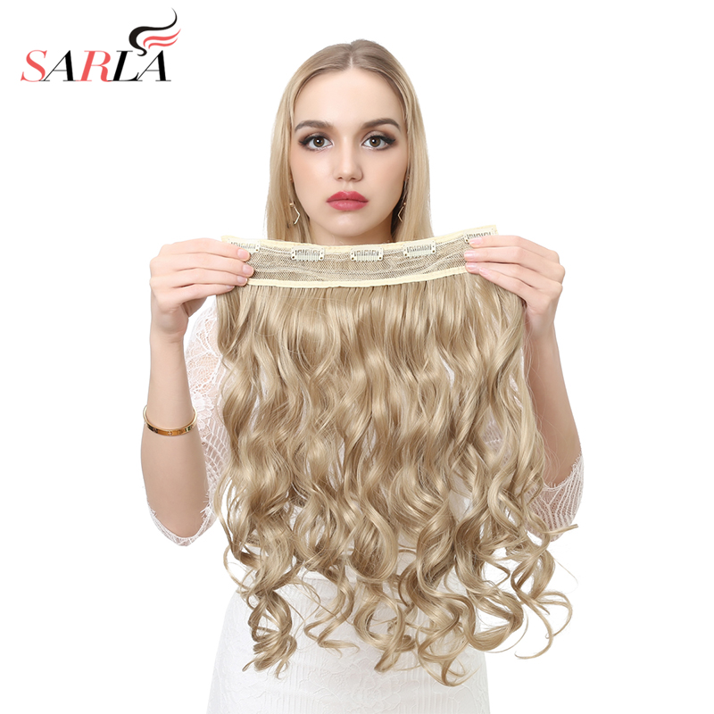 SARLA 200 pcs Lot Hairpieces 20 Wavy One Piece 3 4 Clip In Synthetic Hair Extensions