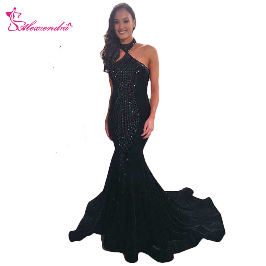 Alexzendra Halter Up Black Mermaid   Prom     Dresses   Cut Out Back Long Formal Evening   Dress   Party   Dress   Plus Size