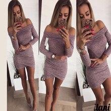 OLOEY 2018 Autumn Sheath OL Style Work T Shirt Dress 3 4 sleeve Sexy Mini  dresses e52e00ef63f4