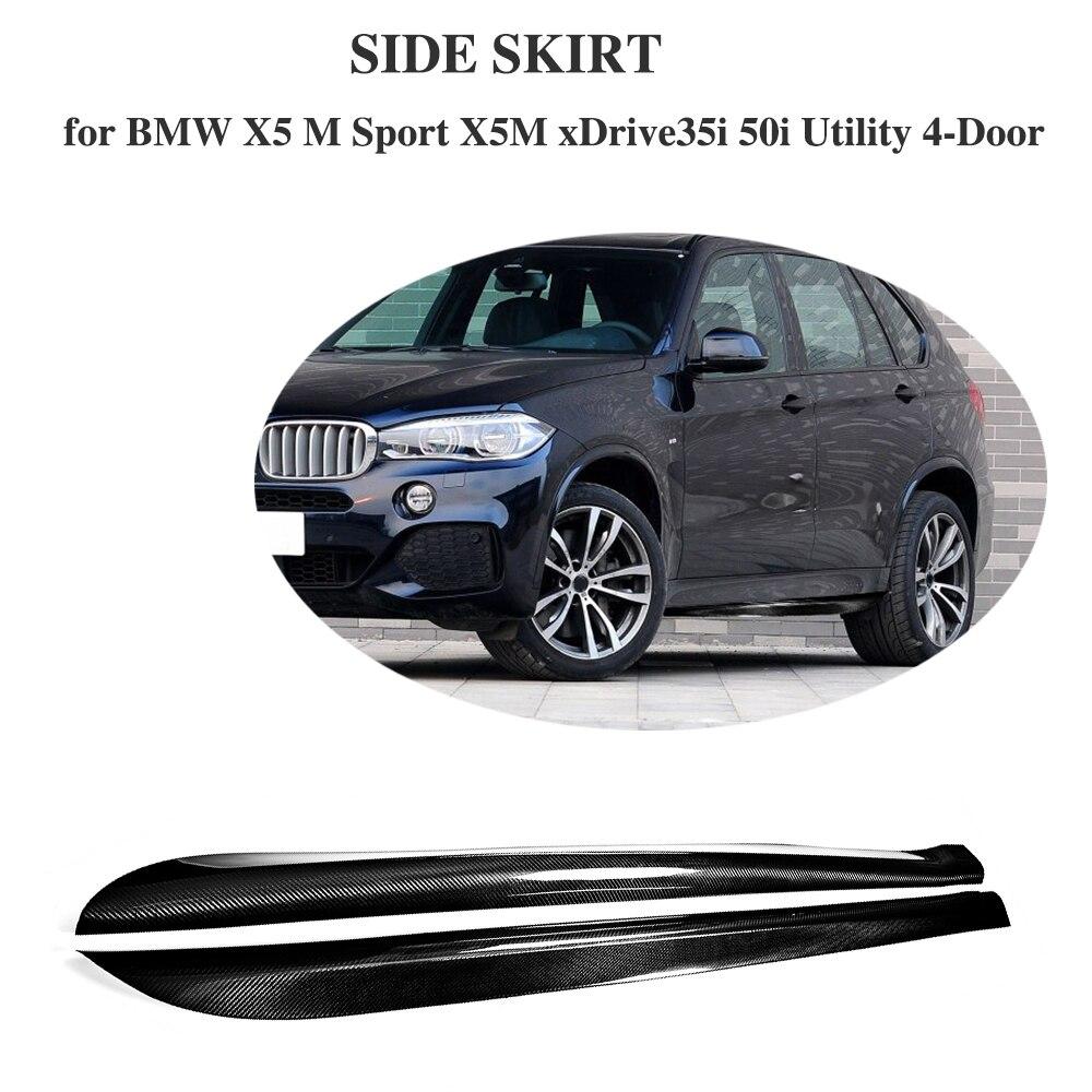 Carbon Fiber Side Skirts Aprons Bumper Molding Trim for BMW X5 M Sport X5M xDrive35i 50i Utility 4 Door 2014-2018 P Style