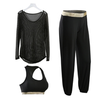 Summer Fitness Women 3 Pieces Yoga Set Sport Bra Yoga Pants Hollow Smock Girl Gym Clothes