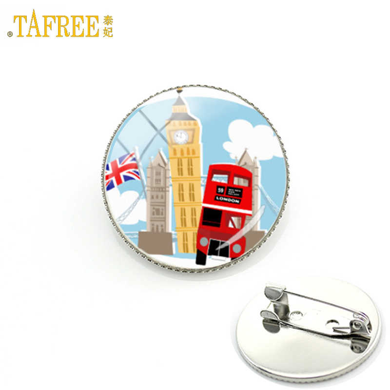 TAFREE 2017 new fashion hippie van old London double decker bus brooch pins men women jewelry England travel badge brooches H173