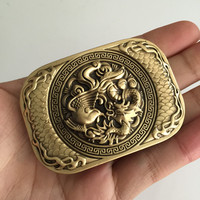 Retail 2017 New High Quality 3D Phoenix Dragon Solid Brass Men Belt Buckle With 137g Metal