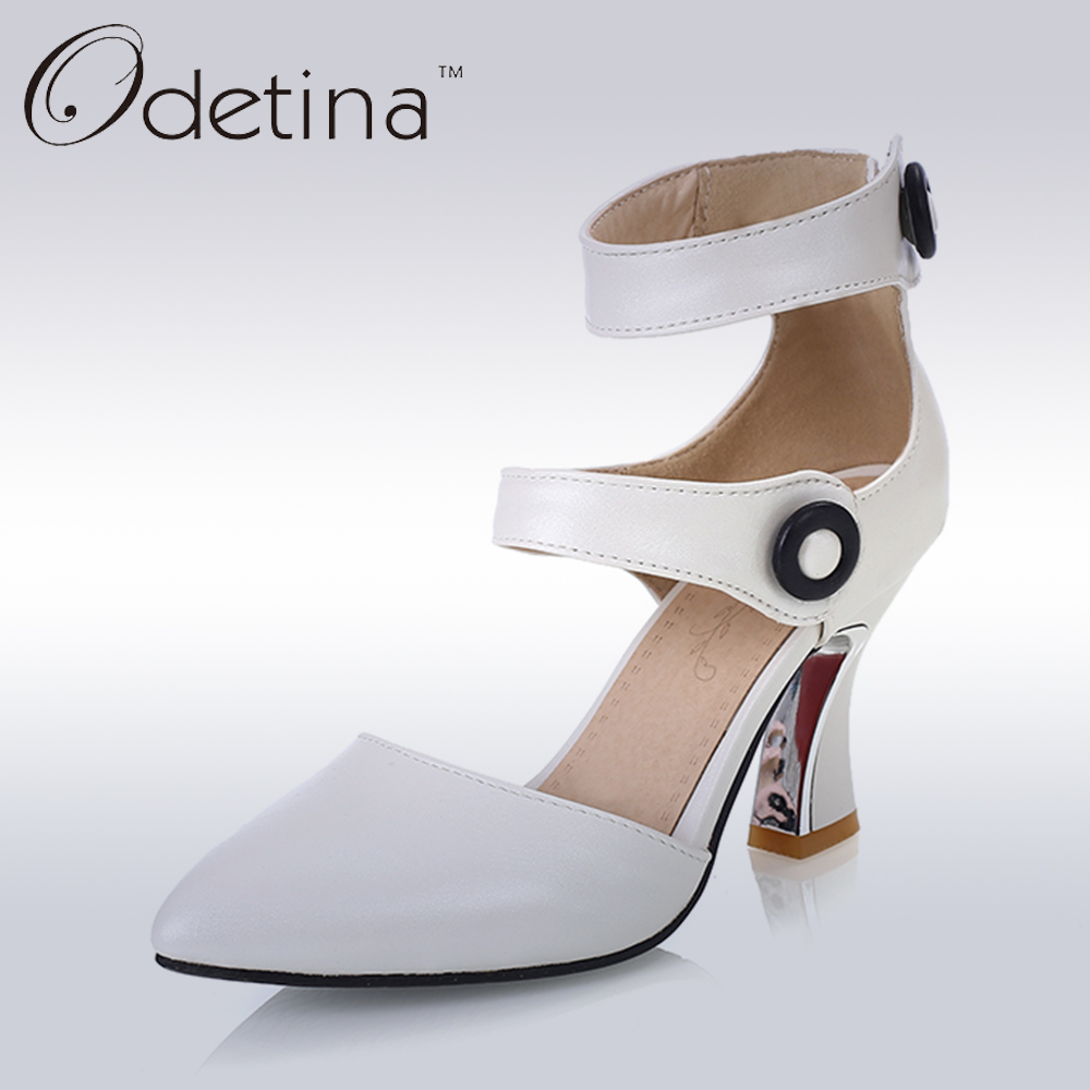 Odetina 2017 Brand Fashion Women Pumps Fashion Ankle Strap High Heels Nude Classic Sexy Pointed Toe Dress Pumps Big Size 32-43 summer bling thin heels pumps pointed toe fashion sexy high heels boots 2016 new big size 41 42 43 pumps 20161217