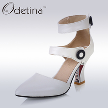 Odetina 2017 Brand Fashion Women Pumps Fashion Ankle Strap High Heels Nude Classic Sexy Pointed Toe Dress Pumps Big Size 32-43(China)