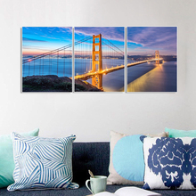 Laeacco 3 Panel Posters Prints the Golden Gate Bridge of San Francisco Wall Artwork Canvas Calligraphy Painting Home Decoration