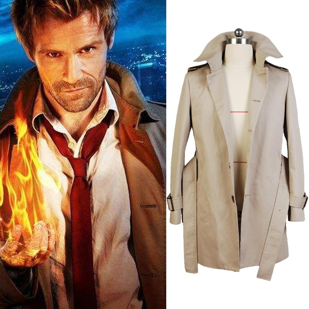 Cosplay Constantine John Constantine Cotton Twill Trench Jacket Coat Only Costume Halloween Carnival Women Men Costume