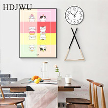 Cartoon Art Decoration Canvas Painting Wall Pictures Cute Cat Aminal Printing Posters for Living Room  DJ213
