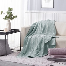 PHF 100% Cotton Bed Blanket Yarn Dyed Waffle Weave Lightweight Breathable Soft Home Decor Green purple Grey King Queen Size