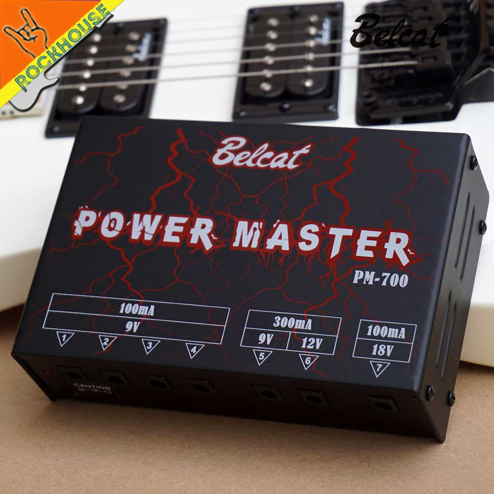 belcat guitar effects pedal power supply 7 isolated output dc 9v 100ma 300ma dc 12v 300ma 18v. Black Bedroom Furniture Sets. Home Design Ideas