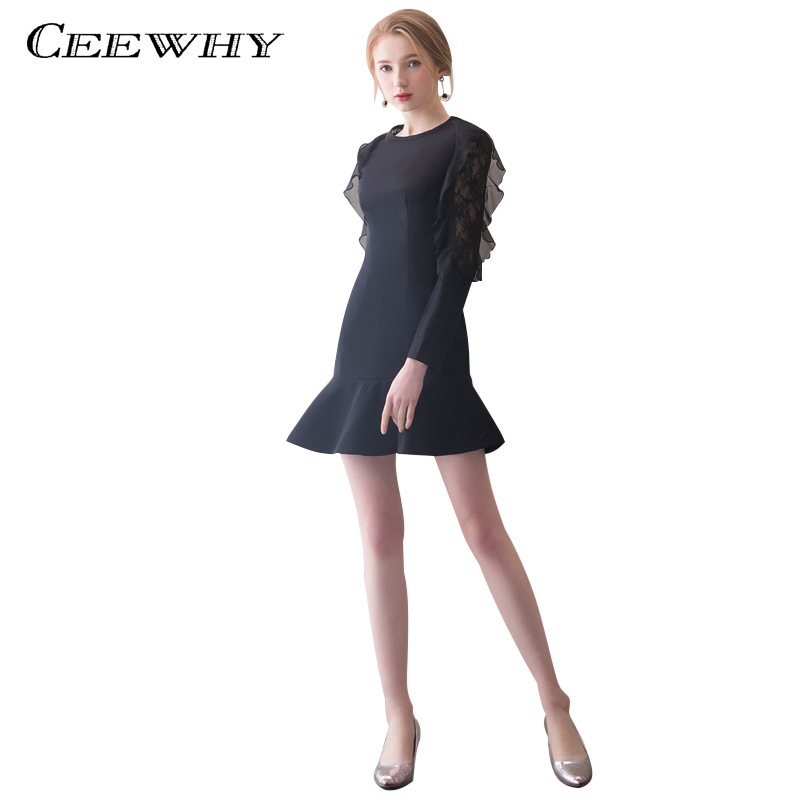 CEEWHY Ruffle Lace Party   Dress   Elegant Long Sleeve   Cocktail     Dress   Black Mermaid Prom   Dresses   Vestidos Cortos Elegantes Coctel