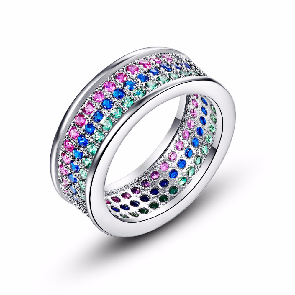New Hot Gifts Silver Ring 01ct Round Cubic Zirconia Crystal Circle Wedding  Eternity Rings Bands