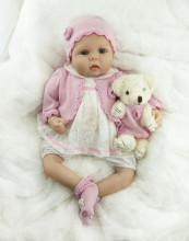 NPK 55CM Soft Silicone Newborn Baby Reborn Doll Babies Dolls 22inch Lifelike Real Bebe Doll for Children Birthday Xmas Gift