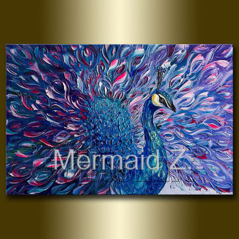 Hand Painted Oil Painting Peacock Modern Animal Art Painting Textured Palette font b Knife b font