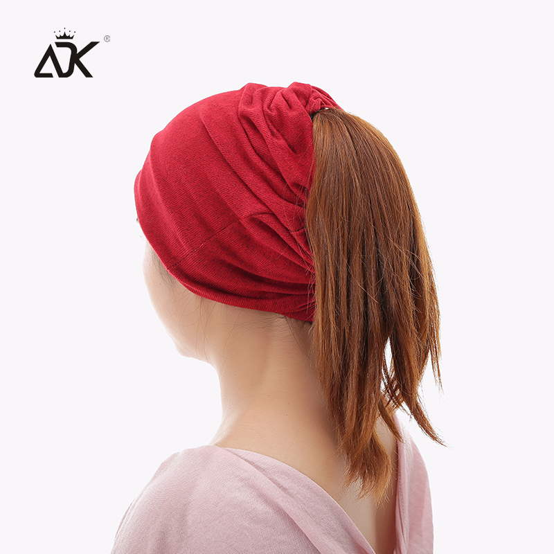 Multifunction Knitted Hat Female Casual Plain Bonnet Cap Women's Soft Polyester Baggy Beanies Spring Autumn Ponytail Beanies