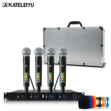 Professional wireless metal microphone system UHF 4 channel head wear lapel Handheld Headset KTV dynamic mic Karaoke KT400 freeboss m 2280 50m distance 2 channel headset mic system karaoke party church uhf wireless microphones