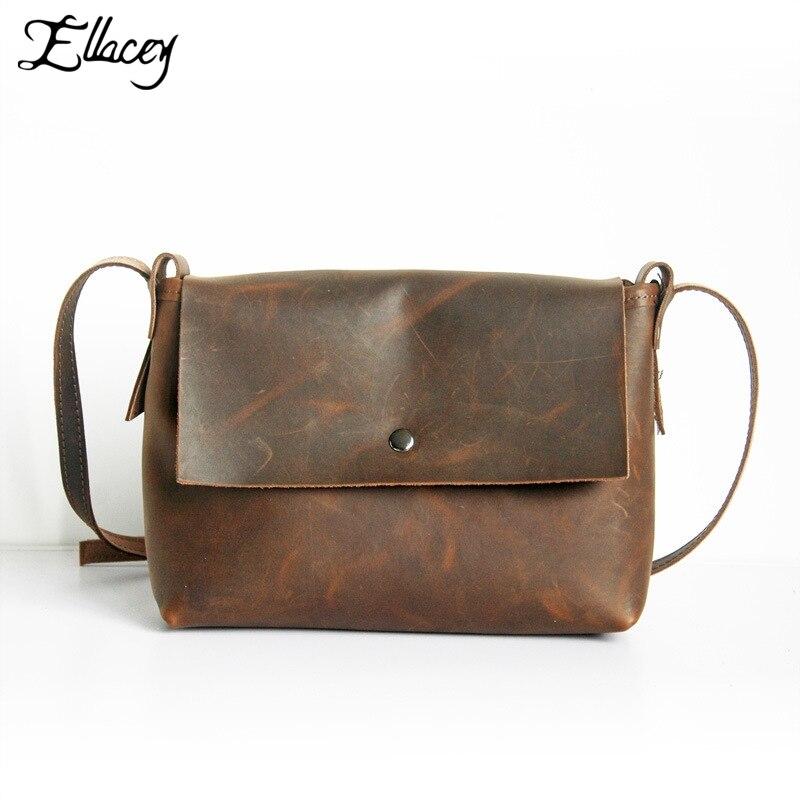 European Style Vintage Crazy Horse Genuine Leather Women Flap Bag Brand Handbag Lady's Small Crossbody Messenger Bags