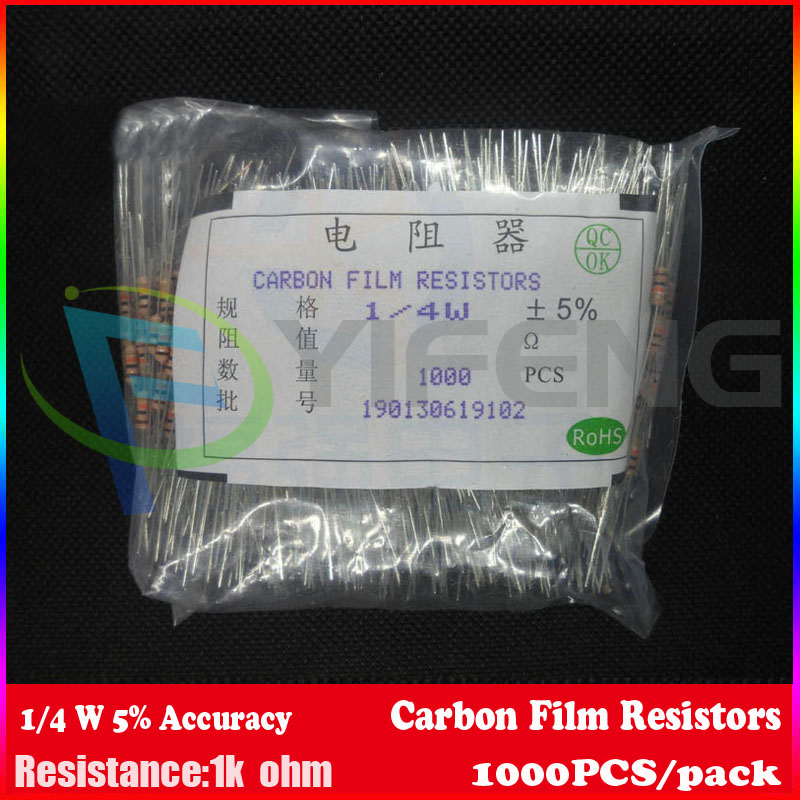 New! 1000 шт. Резисторы 1 К ОМ ОМ 1/4 Вт 5% Углеродной Пленки