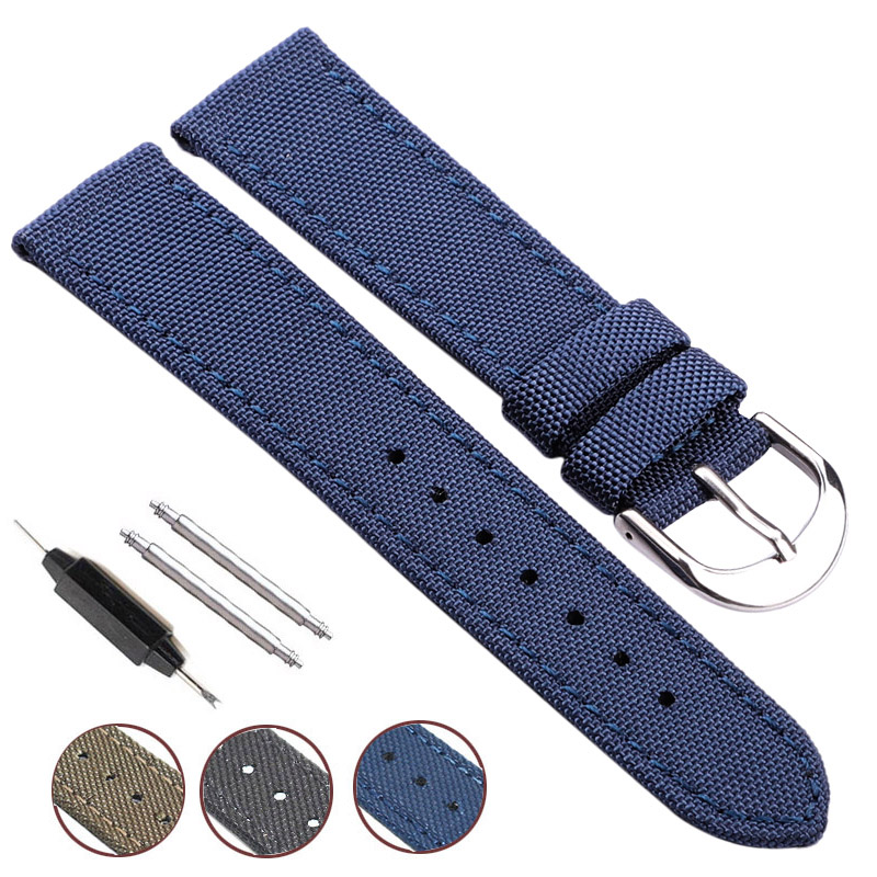 Nato Strap Canvas Nylon Genuine Leather Watch Band 18mm 20mm 22mm 24mm Men Black Blue Green Women Fashion Watchband Bracelet women crocodile leather watch strap for vacheron constantin melisa longines men genuine leather bracelet watchband montre