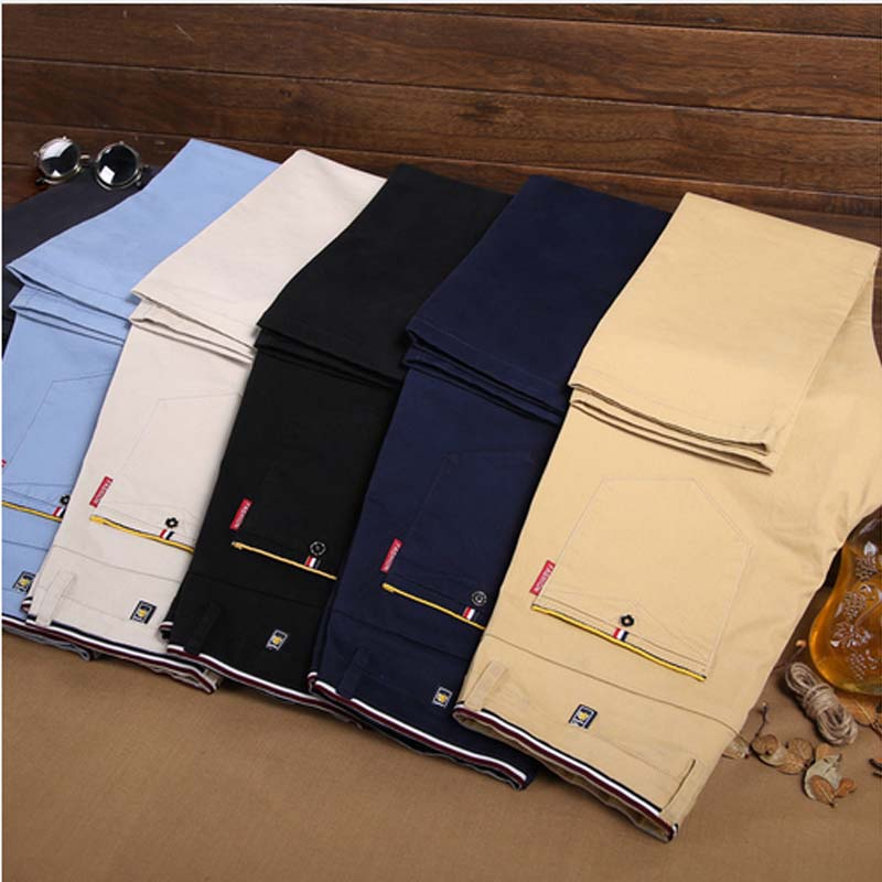 2018 Fashion Cotton Business Casual Pants Men Straight Trousers hombres pantalones Spring Summer Classic Men/'s Elastic Pants