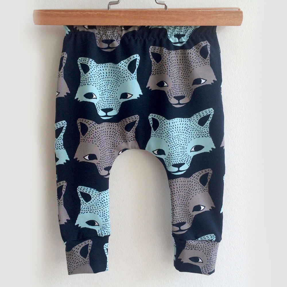Puseky Fashion Baby Pants Cartoon Animal Wolf Prints Boys Trousers Casual Cotton Harem Pants 4-24M Winter Elastic Infant Clothes