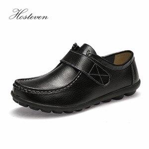 Image 4 - Hosteven النساء حذاء رياضة الشقق جلد طبيعي عارضة المتسكعون الأحذية كعب منخفض الأخفاف الأحذية الصلبة كبيرة الحجم