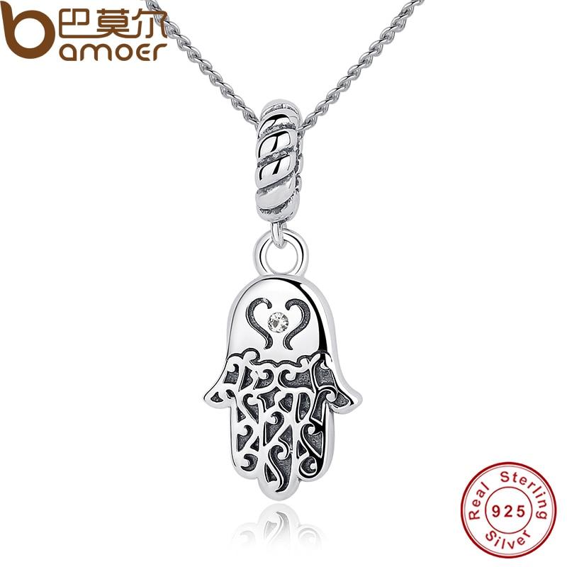 BAMOER New 925 Sterling Silver Lucky Hamsa Pendant Necklace s