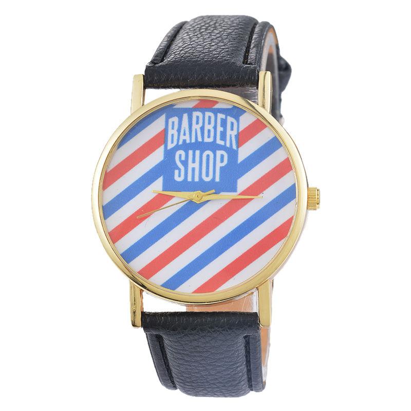 Practical Fashion Women Men BARBER SHOP Dial Quartz Analog Leather Wrist Watch Colour:Black lvpai p443 women dial analog quartz wrist watch