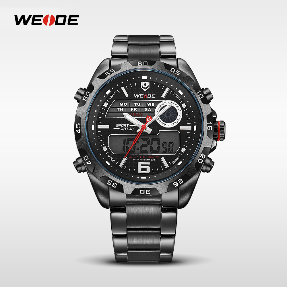 WEIDE Brand Top Brand Watch Full Steel Alarm Stopwatch Men Sport Multi-functional Analog Quartz Digital Big Clock For Man WH3403 weide casual genuine luxury brand quartz sport relogio digital masculino watch stainless steel analog men automatic alarm clock