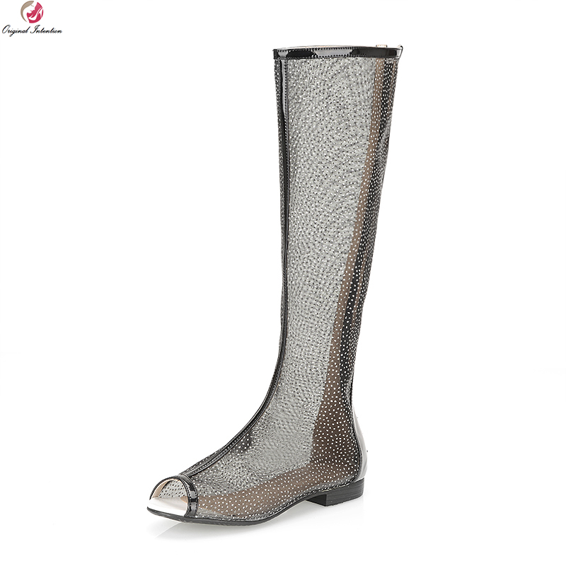 Original Intention Sexy Women Knee-High Boots Lively Peep Toe Boots Black White Pink Shoes Woman US Size 4-10.5 lole брюки ssl0009 lively pants 35 in xs black